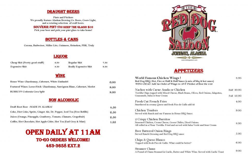 Red Dog Saloon Winter Bar menu page 1
