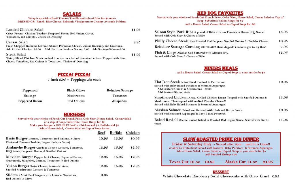 Red Dog Saloon Winter Bar menu page 2