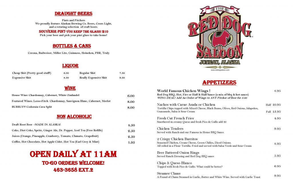 Red Dog Saloon Winter Bar menu page 1