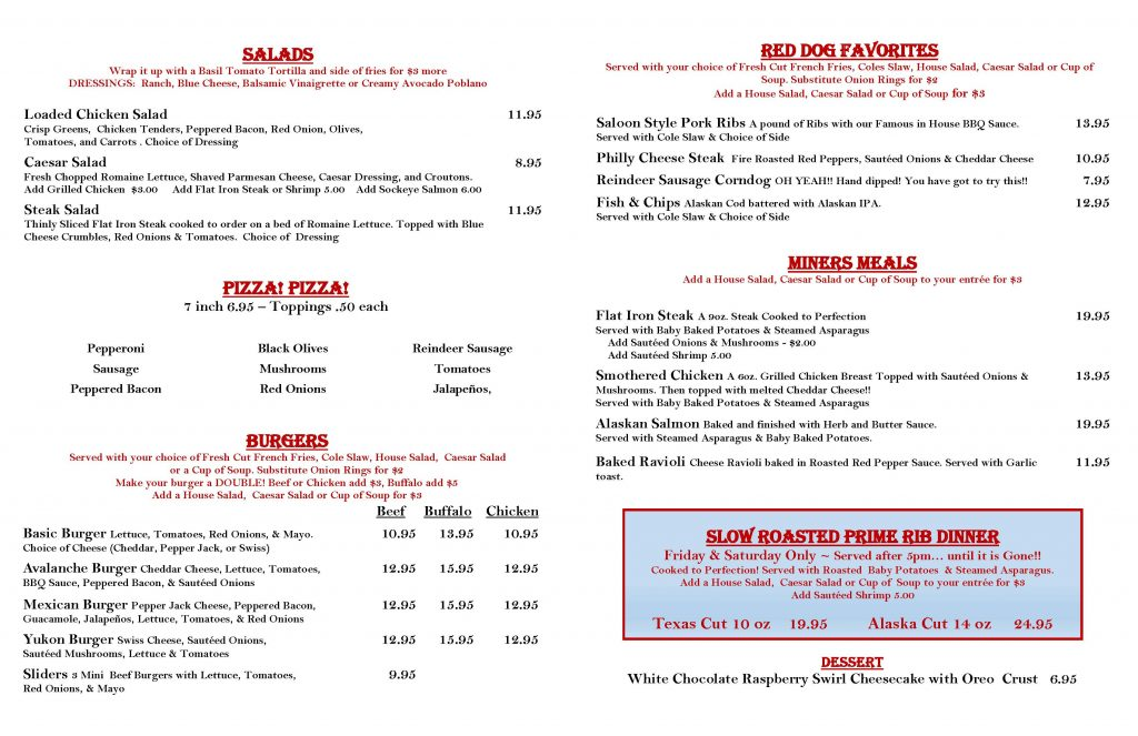 Red Dog Saloon Winter Bar menu page 2